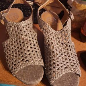 Silver wedge sandles
